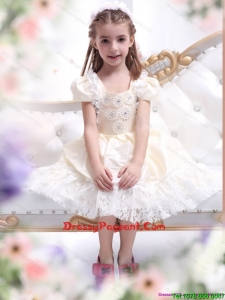 Gorgeous Champagne Lovely Girl Dress with Hand Made Flower and Lace