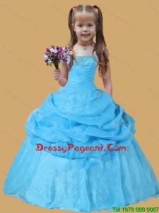 Scoop Pick-ups Ball Gown Lovely Girl Pageant Dress Blue