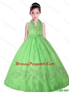 Spring Green Halter Top Neck Appliques Lovely Girl Pageant Dress