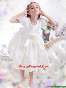 Cheap White Scoop 2015 Flower Girl Dress with Bowknot and Cap Sleeves