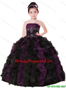 Purple and Black Strapless Appliques and Ruffles Organza Little Girl Pageant Dress