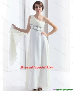 2015 New Style One Shoulder White Prom Dress with Watteau Train and Beading