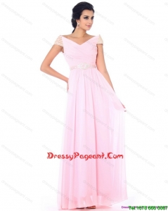 2015 Perfect Off the Shoulder Beading Prom Dress in Baby Pink