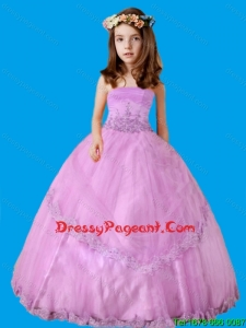 Strapless Ball Gown Appliques Strapless Flower Girl Pageant Dress