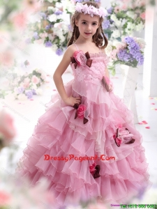 2015 Baby Pink Flowers Girl Dress with Hand Made Flowers and Ruffles