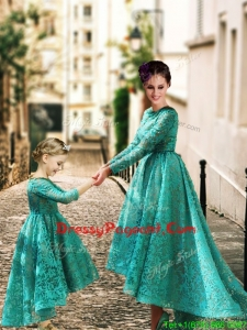Elegant Long Sleeves Prom Dress with Lace and Modest High Low Little Girl Dress with Half Sleeves