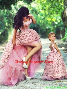 Exquisite High Low Prom Dress with Special Material and Perfect Applique Little Girl Dress with Straps