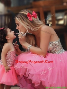 Most Popular Knee Length Prom Dress with Beading and New Style Beaded Little Girl Dress with Strapless