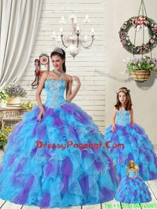 Appliques Pageant Dresses For Sisters with Beading and Ruffels