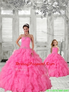 Beading Strapless Hot Pink Pageant Dresses For Sisters with Ruffles and Ruching