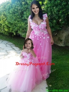 Beautiful Deep V Neckline Pageant Dress with Appliques and Hot Sale Rose Pink Little Girl Dress with See Through Scoop