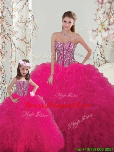 Classical Ball Gown Beaded and Ruffles Pageant Dresses For Sisters in Hot Pink