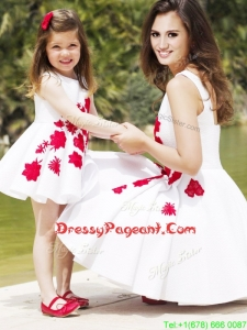 Classical Embroidered Pageant Dress with Knee Length and Hot Sale Scoop Little Girl Dress in White
