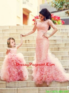 Exclusive Column Long Sleeves Pageant Dress with Brush Train and Affordable Ruffled and Laced Little Girl Dress in Watermelon Red
