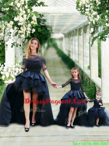 Fashionable High Low Navy Blue Pageant Dress with Bateau and Gorgeous See Through 3/4 Length Sleeves Little Girl Dress with Scoop and New Style High Low Tobbler Dress with Long Sleeves