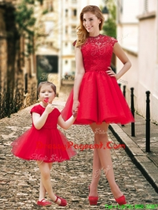 Feminine High Neck Backless Pageant Dress in Red and Beautiful Mini Length Little Girl Dress with Cap Sleeves