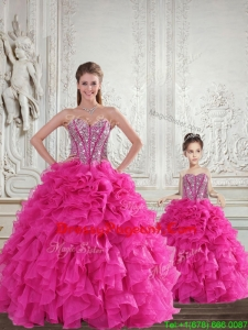 Fuchsia Sweetheart Pageant Dresses For Sisters with Beading and Ruffles