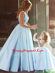 Luxurious V Neck Satin Pageant Dress with Appliques and Most Popular Big Puffy Little Girl Dress with Straps