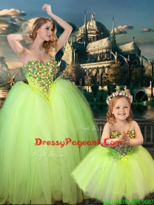 New Arrivals Beaded Really Puffy Pageant Dress in Yellow Green and Classical Spaghetti Straps Little Girl Dress with Beading