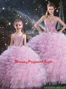 2016 Beautiful Pageant Dresses For Sisters with Beading and Ruffles