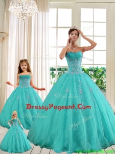 2017 Luxurious Turquoise Pageant Dresses For Sisters with Beading