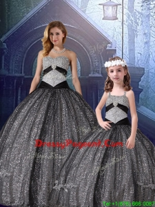 Classical Ball Gown Sweetheart Appliques Pageant Dresses For Sisters in Black