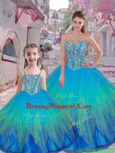 Classical Beaded Ball Gown Pageant Dresses For Sisters with Sweetheart
