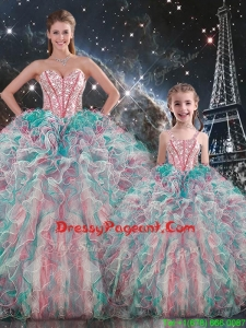 Fashionable Ball Gown Pageant Dresses For Sisters with Beading and Ruffles