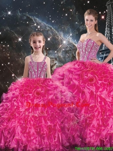 Luxurious Beading Pageant Dresses For Sisters in Hot Pink