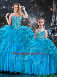 New Arrivals Sweetheart Pageant Dresses For Sisters with Beading in Teal