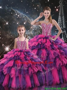 New Style Ball Gown Pageant Dresses For Sisters with Beading and Ruffled Layers for Fall