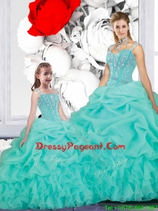 New Style Ball Gown Straps Pageant Dresses For Sisters in Turquoise