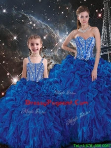 Wonderful Ball Gown Pageant Dresses For Sisters with Beading and Ruffles in Blue for Fall
