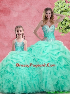 2016 Romantic Beading Pageant Dresses For Sisters in Apple Green