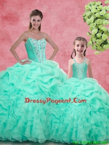 Pretty Ball Gown Sweetheart Beading Pageant Dresses For Sisters in Apple Green for Spring