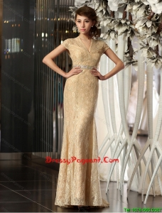 2016 New Style Column V Neck Lace Pageant Dresses with Brush Train