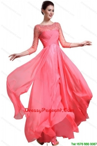 Beautiful Bateau Coral Red Pageant Dresses with 3/4-length Sleeves