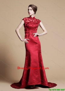 Classical Mermaid High Neck Brush Train Pageant Dresses with Appliques