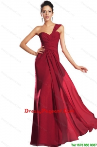 Discount One Shoulder Ruched Pageant Dresses in Wine Red