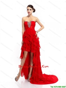 Fashionable High Low Lace Up Pageant Gowns with Ruffled Layers
