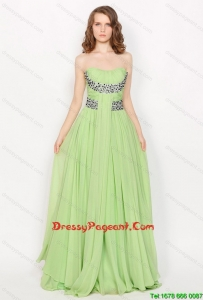 Hot Sale Strapless Brush Train Pageant Dresses in Apple Green