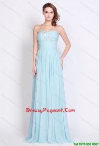 Popular Light Blue Brush Train Pageant Dresses with Side Zipper