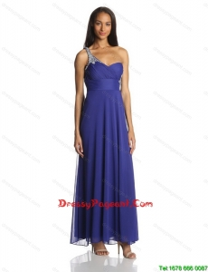 Sexy Empire One Shoulder Ankle Length Chiffon Pageant Dresses in Blue