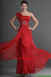 2016 Discount One Shoulder Beading and Ruching Pageant Dresses in Red