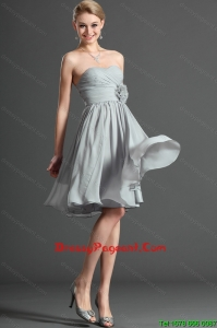 Exclusive Ruching and Hand Made Flower Grey Short Pageant Dress