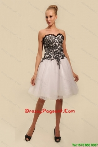 Gorgeous White and Black Pageant Dresses with Appliques