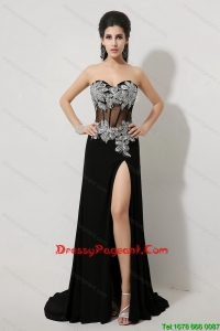 Luxurious Beaded and High Slit Pageant Dresses in Black