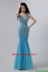 Luxurious Mermaid Beaded Pageant Dresses with V Neck