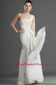 New Arrival One Shoulder Appliques White Pageant Dress with Watteau Train for 2016