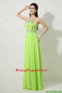 Pretty Halter Top Beaded Prom Dresses in Spring Green